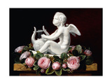 Garland of Pink Roses around Cupid Playing a Lyre on a Marble Ledge  1841