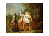 A Young Boy on a Hobbyhorse  with Other Children Playing in a Garden