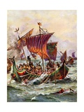 King Alfred's Galleys Attacking the Viking Dragon Ships  897