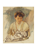 Mother Rose Looking Down at Her Sleeping Baby  C1900