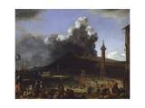 The Port of Naples with Vesuvius Erupting