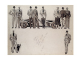 Fashion Design for 'Adam'  Depicting Ten Male Models Standing by a Car