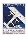 German Poster Advertising the French Airmail Service  1928