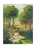 Mother and Child in a Landscape; Mere Et Enfant Dans Un Paysage  1900