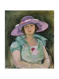 Portrait of Marthe Lebasque in a Purple Hat  1925-26