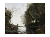 A River with a Square Tower and a Farmer in the Foreground  C1865-70