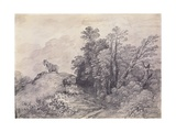 Wooded Landscape with Horse and Boy Sleeping  C1757