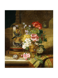 A Vase of Assorted Flowers and Songbirds on a Ledge  1867