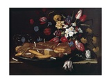 Still Life with Bread  Biscuits and Flowers