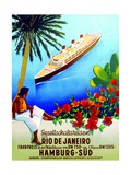 To Rio De Janeiro'  Poster Advertising the Hamburg Southern Line  1929