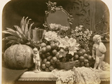 Still Life of Fruit with Mirror and Figurines  1860