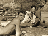 Jean Marais and Jean Cocteau on the Beach in Pramousquier  France  1938