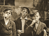 Newsboys Having a Smoking Break  St Louis  Missouri 1910