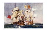 "Anson's ""Centurion"" Taking the Spanish Galleon ""Nuestra Senora De Cabadonga "" 1743"