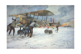 Ground Crew and Pilot Manhandle a French Spad Fighter Through the Snow to a Hangar  January 1918