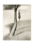 Man Standing Next to Tree; Study on La Grande Jatte  1884-1885