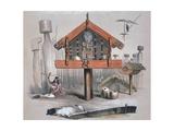 Maori Food Storage Hut  Illustration from New Zealanders Illustrated