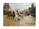 Riders and Coaches on Bois De Boulogne Avenue in Paris with the Arc De Triomphe in the Background