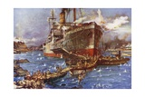 The Landing of Troops from the River Clyde at V Beach  Gallipoli Peninsula  Turkey  25 April 1915
