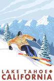 Downhhill Snow Skier  Lake Tahoe  California