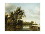 A River Landscape with a Hayloft Among Trees and a Ferryboat with Passengers and Cattle