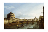 A View of Rome Looking West  with Boats Along the Tiber and the Castel Saint'Angelo in the Distance