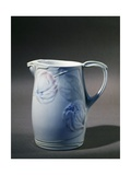 Pitcher with Floral Decorations on White Background  1900
