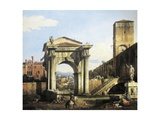 Roman Capriccio with Turreted Walls and City Gates  1742-1747