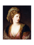 Portrait of the Artist  Bust Length  Wearing a Pink Dress and a Gold Embroidered Blue Robe  1767