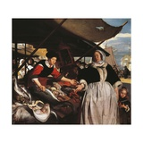 Adriana Van Heusden and Daughter at New Fishmarket in Amsterdam  Circa 1662