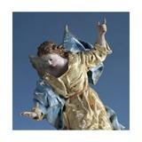 Angel Visiting Saint Joseph in Dream  Painted Terracotta Nativity Figurine