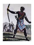 Anzikos Warrior  Africa  Engraving from Encyclopedia of Voyages  1795