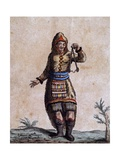 Woman of Hudson Bay in Traditional Costume  Color Engraving by Laroque