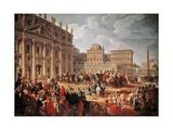 Charles III Visiting Saint Peter's Basilica  Rome  1746