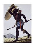 Juida Warrior  Africa  Engraving from Encyclopedia of Voyages  1795