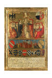 Coronation of Pope Pius II  with City of Siena at Bottom Guarded by Two Heraldic Lions