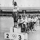 Indian Field Hockey Team Waving to the Crowd as They Win the Gold Medal at 1956 Melbourne Olympics