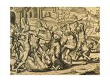 Martyrdom of Missionary Monks in South America  Engraving from Historia Americae
