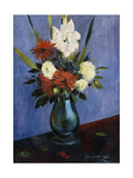 Vase of Flowers with Gladiola and Dahlias; Blumenvase Mit Gladiolen Und Dahlien