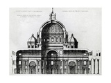Section of St Peter's Basilica in Vatican from Drawing by Michelangelo