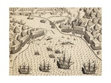 Dutch Arriving at Madura Island  Java  Engraving from Work India Orientalis