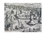 Arrival of Girolamo Benzoni in Port of La Palma  Engraving from Historia Americae