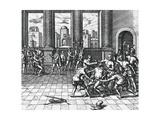 Inca Emperor Atahualpa Being Garroted by Pizarro's Troops  July 26  1533  Peru