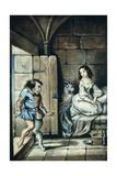 Esmeralda and Quasimodo  Watercolor by Theophile Gautier