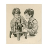 The Wright Brothers as Boys  Dropping Water into the Sewing Matchine with a Feather