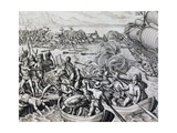 Clash Between Native Indians and Spanish Troops  Engraving from Historia Americae