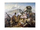 The Zulu Natives Attacking Boer Caravan at Blauwkrantz  February 6  1838