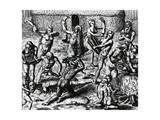 Brazilian Natives Cook and Eat Bodies of Slain Enemies  Engraving from Peregrinationes