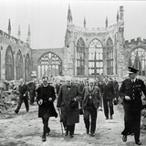 Winston Churchill Visiting the Ruins of Coventry Cathedral Following its Destruction