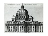 Southern Facade of St Peter's Basilica in Vatican from Drawing by Michelangelo